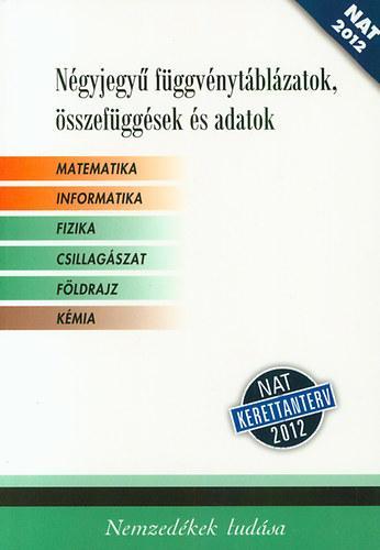NÉGYJEGYÛ FÜGGVÉNYTÁBLÁZATOK, ÖSSZEFÜGG. ÉS ADATOK (NAT 2012, FEHÉR)