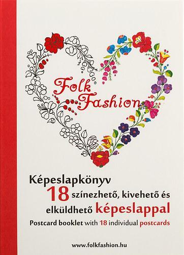 FOLK FASHION KÉPESLAPKÖNYV - 18 SZÍNEZHETŐ, KIVEHETŐ ÉS ELKÜLDHETŐ KÉPESLAPPAL