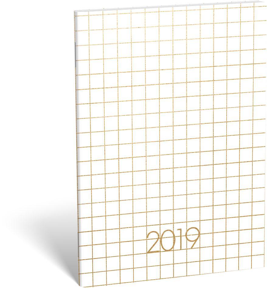 NAPTÁR 2019 - ZSEBNAPTÁR TÛZÖTT B6 ARANYOZOTT, GOLD FOR MEN, WHITE