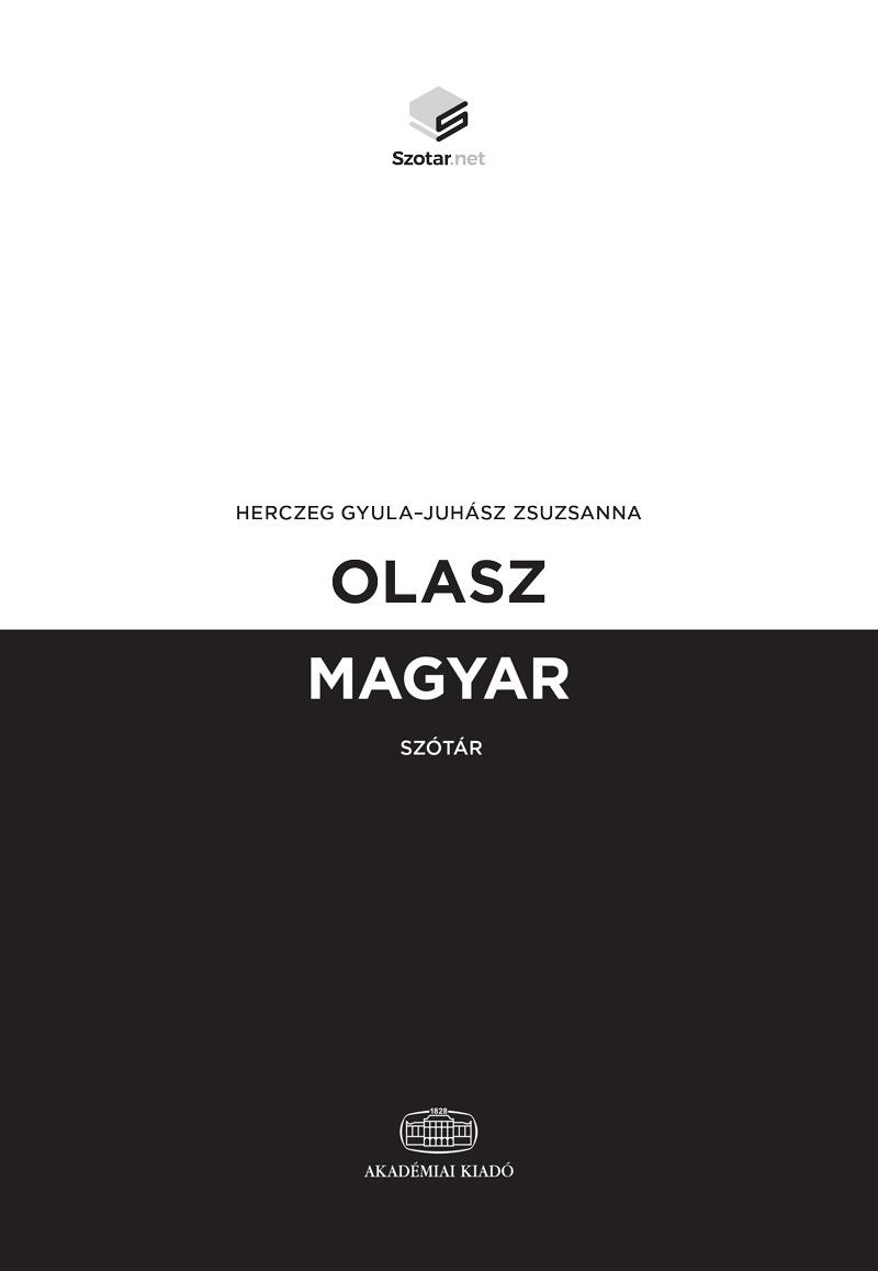 OLASZ-MAGYAR SZÓTÁR + ONLINE SZÓTÁRCSOMAG